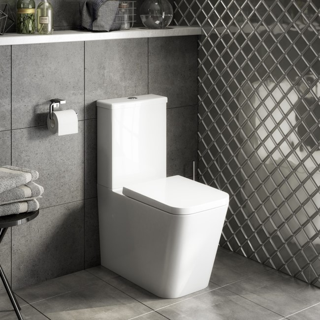 Evan Close Coupled WC and Soft Close Seat - Closed Back