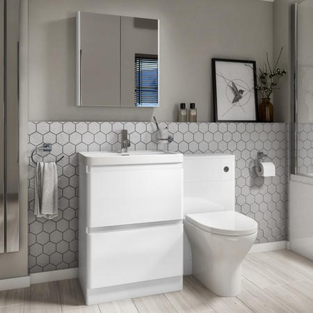 Portland White Toilet and Basin Combination Unit - 2 Drawer with Arissa Chrome Pneumatic Push Button and Cistern