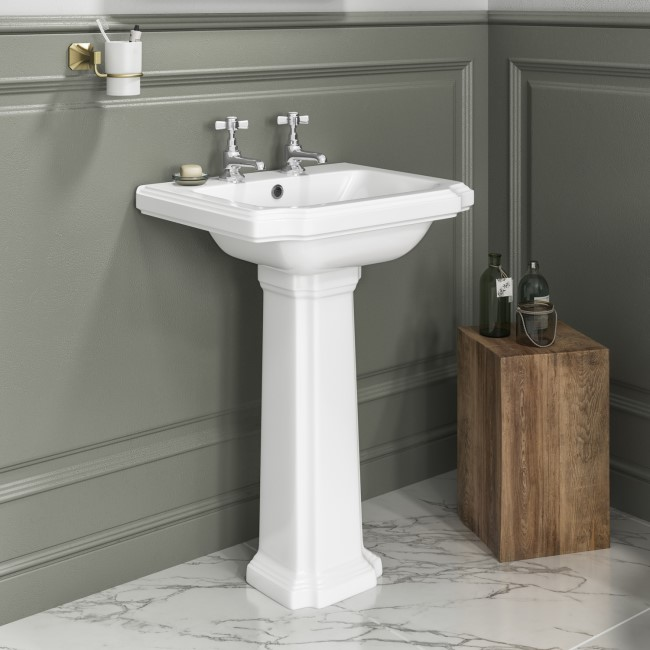 Park Royal Traditional Two Tap Hole Basin and Full Pedestal