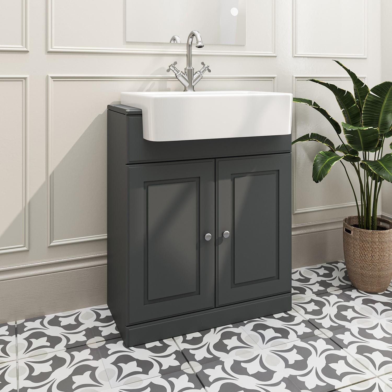 670mm Dark Grey Freestanding Vanity, Dark Grey Bathroom Vanity Unit