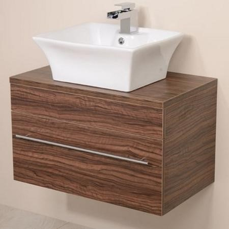 Aspen 750mm Wall Hung Vanity Unit & Countertop Basin - Walnut Single Drawer