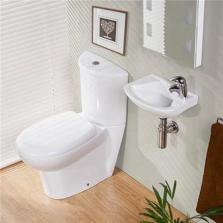Prima 360mm Close Coupled Toilet and  Wallhung Basin Cloakroom Suite
