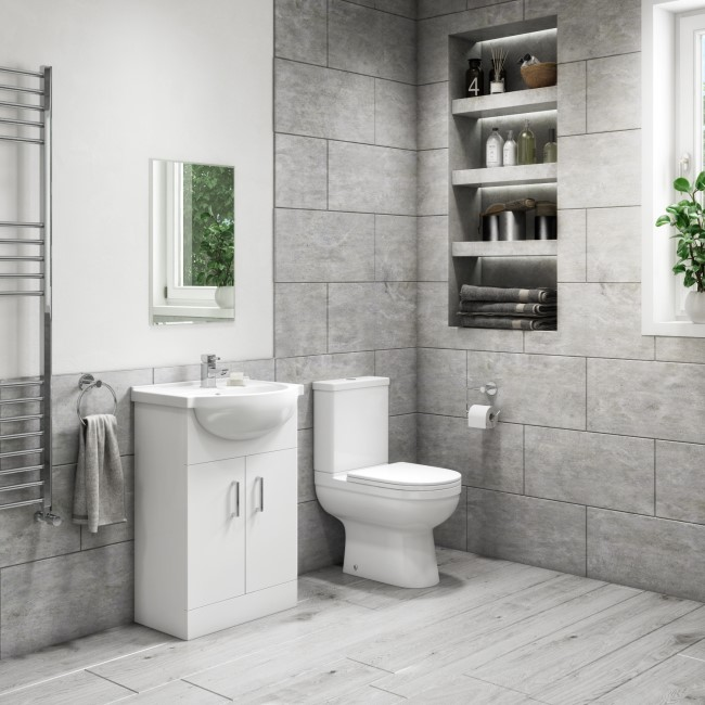 550mm Vanity Unit with Basin & Close Coupled Toilet Suite - Classic