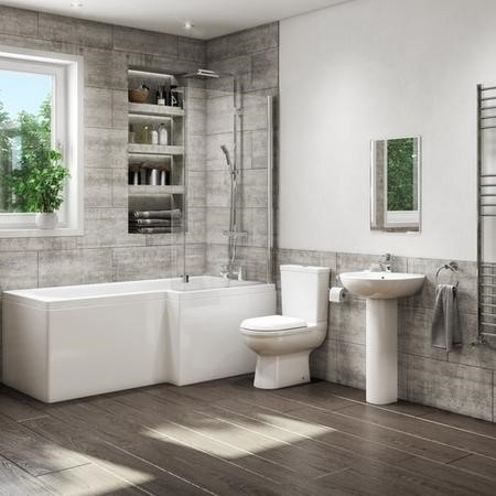 1700mm L Shaped Bath Suite with Toilet Basin Front Panel & Screen - Right Hand