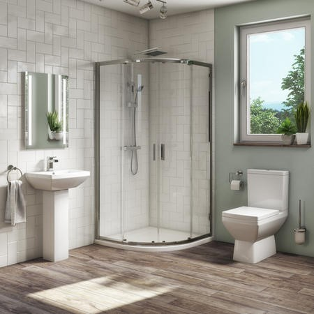 900mm Quadrant Shower Suite with Toilet Basin & Tray - Tabor