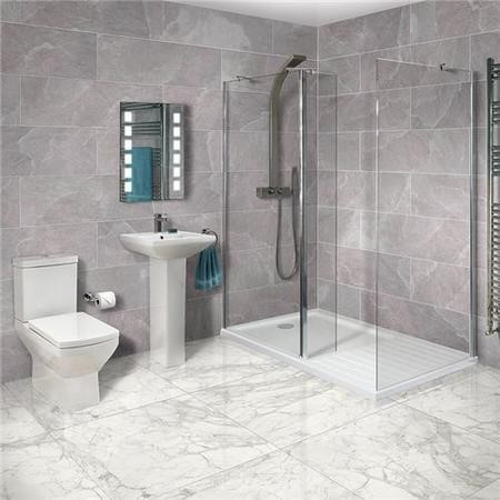 Aqualine 8mm 1400 x 900 Walk In Enclosure & Ultralite Shower Tray with Tabor Suite