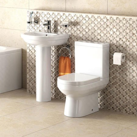 Dee Close Coupled Toilet and Full Pedestal Basin Bathroom Suite