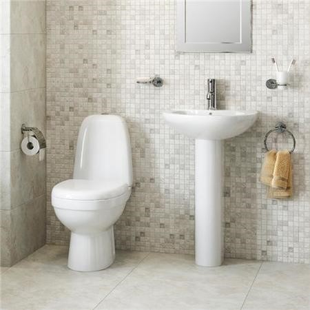 Close Coupled Toilet & Full pedestal Basin Suite - Cova