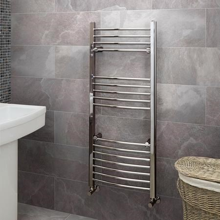 1200 x 500mm Curved Chrome Heated Towel Rail - Eco Heat Range