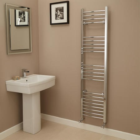 Eco Heat 1600 x 400mm Curved Chrome Heated Towel Rail
