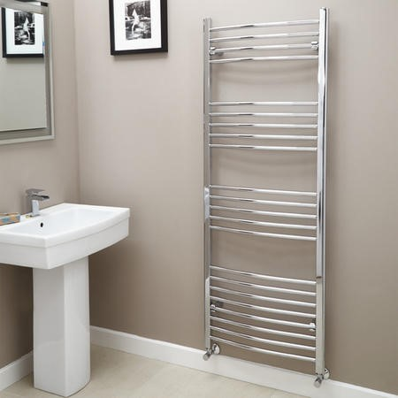 Eco Heat 1600 x 600mm Curved Chrome Heated Towel Rail