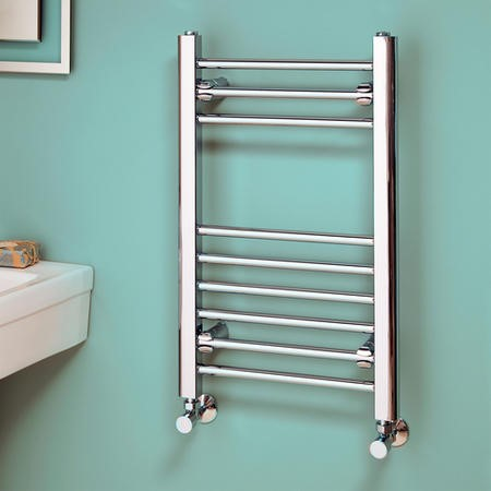 Eco Heat 650 x 400mm Straight Chrome Heated Towel Rail