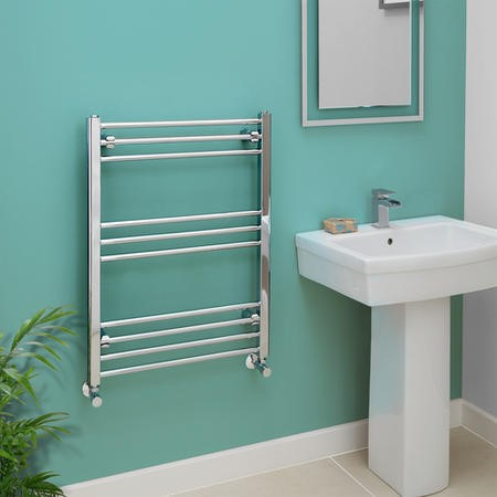 Eco Heat 800 x 600mm Straight Chrome Heated Towel Rail