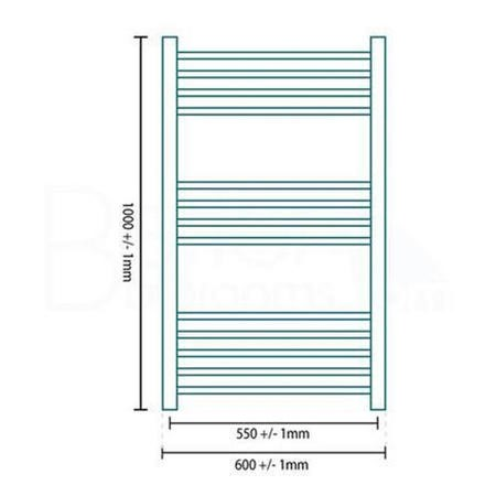 Eco Heat 1000 x 600mm Straight Chrome Heated Towel Rail