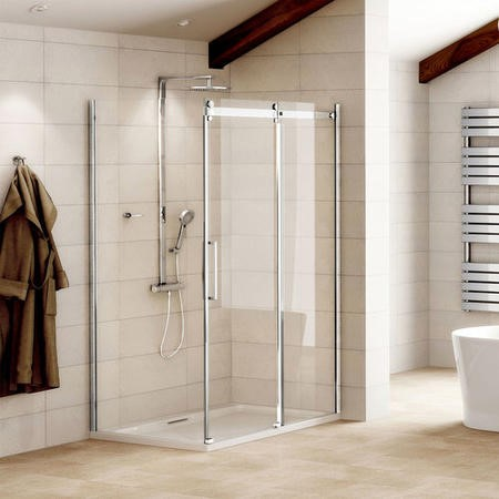 1000 x 800mm Sliding Shower Enclosure 8mm Glass - Aquafloe Elite II