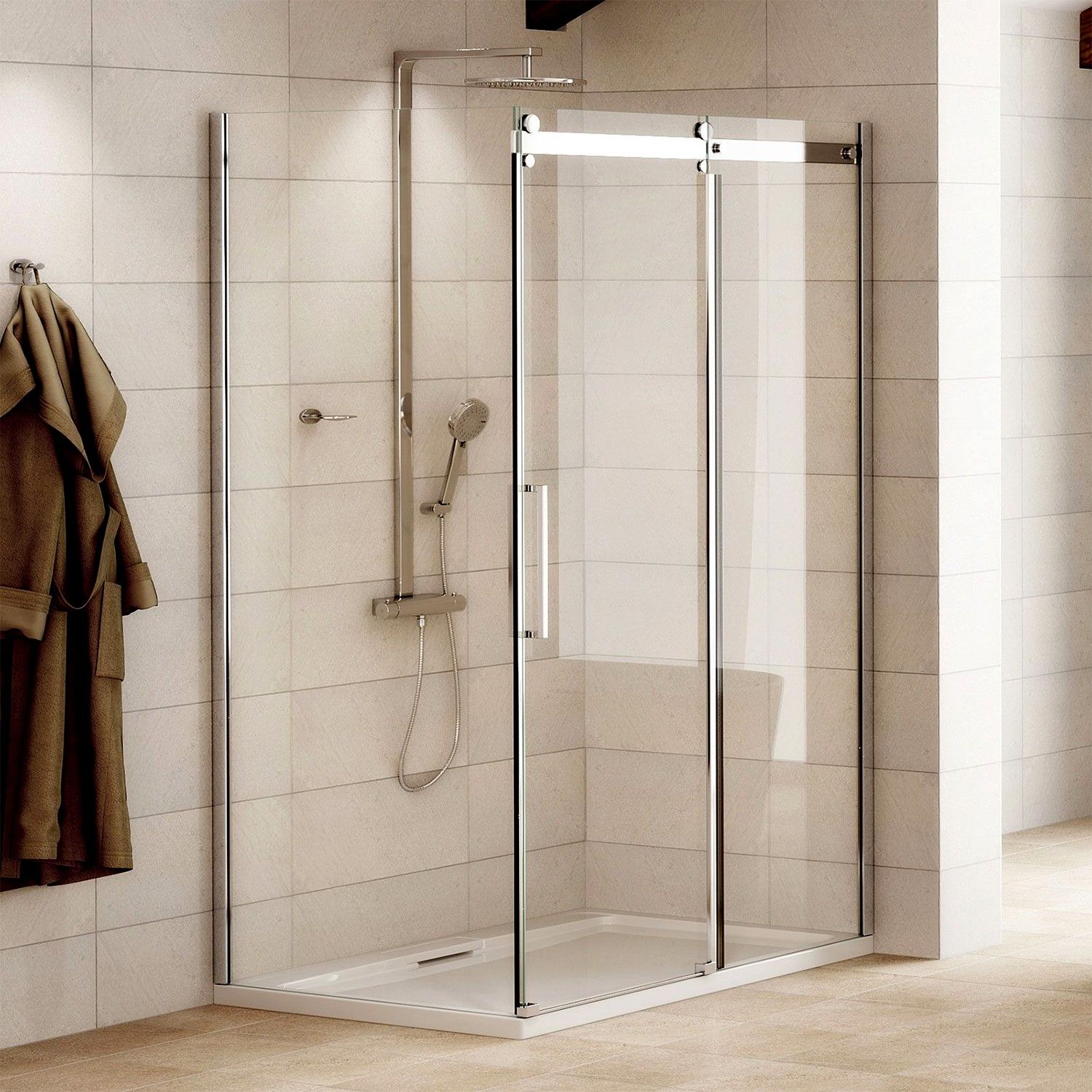 1000 X 900mm Frameless Sliding Shower Enclosure 8mm Glass Aquafloe Elite Ii