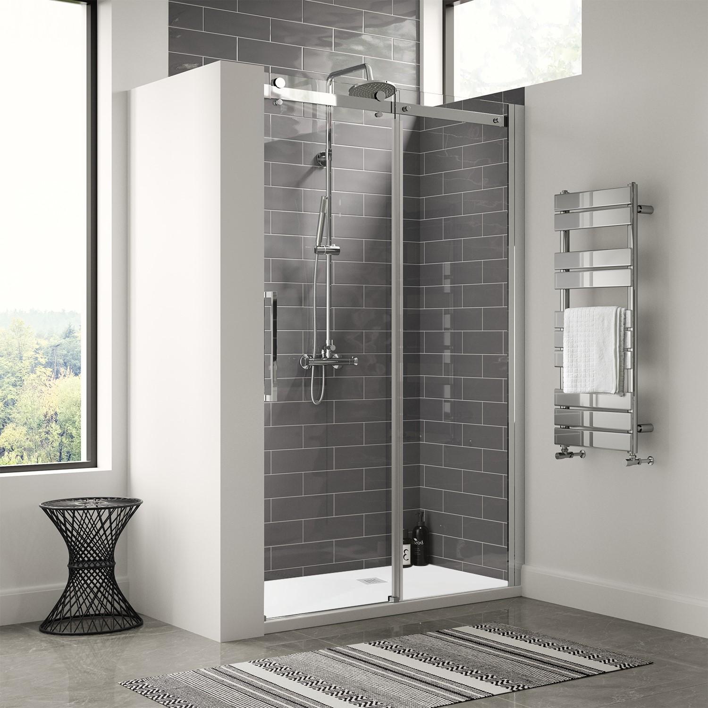 1200mm Frameless Sliding Shower Door Shower Tray Aquafloe Elite Ii