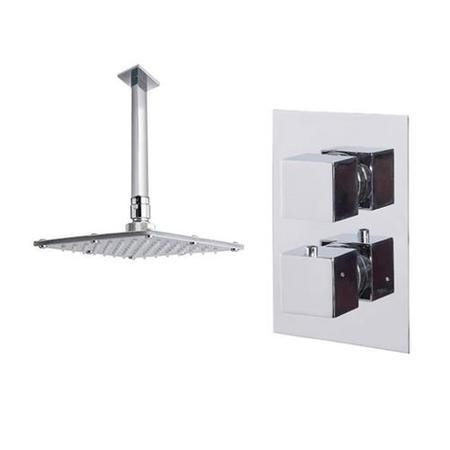 Cube Dual Valve with 175mm Square Shower Head & Ceiling Arm