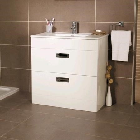 800mm Floor Standing Vanity Basin Unit - White Double Drawer - Aspen Range