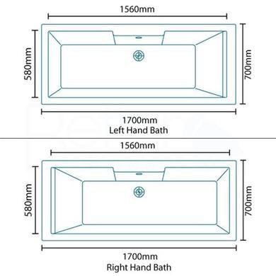 Tabor 1700 x 700 Whirlpool Bath-Double Bath Screen-Left hand bath