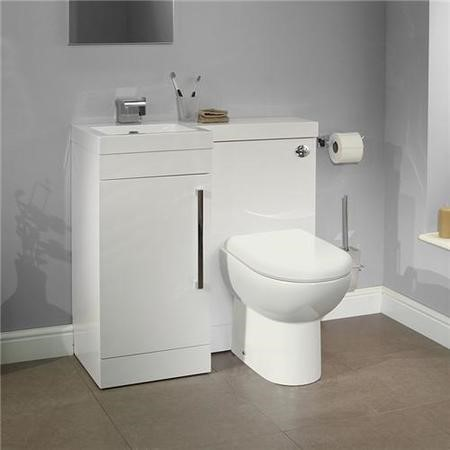 Apex White Left Hand Combination Unit with Santorini Toilet and Seat