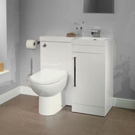 Right Hand Compact Toilet & Basin Combination Unit - Compact - White- Santorini toilet - Apex Range