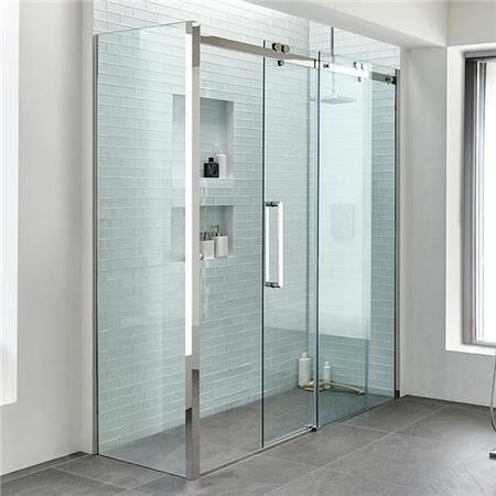 1400 x 800 Sliding Shower Enclosure - Left Hand 10mm Easy Clean Glass - Trinity Range