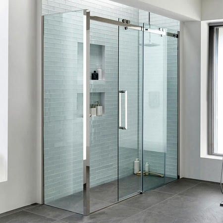 1700 Trinity Premium 10mm Left Hand Shower Enclosure with 900 Side Panel