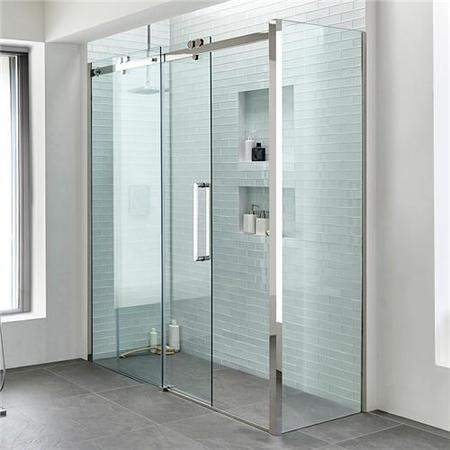 1700 x 760 Sliding Shower Enclosure - Right Hand 10mm Easy Clean Glass - Trinity Range