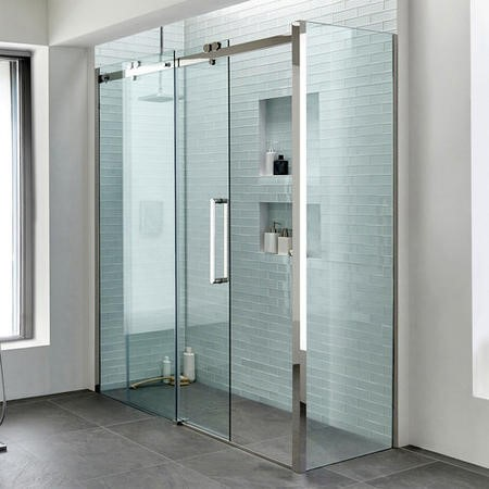1600 x 760mm Sliding Shower Enclosure - Right Hand 10mm Easy Clean Glass - Trinity Range