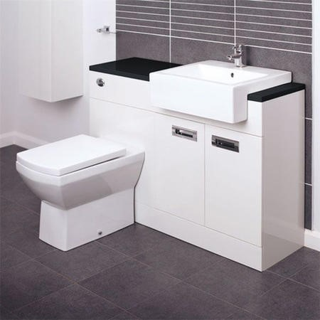 Right Hand Toilet and Basin Combination Unit with Black Worktop - Tabor back to wall toilet- Cuba Range