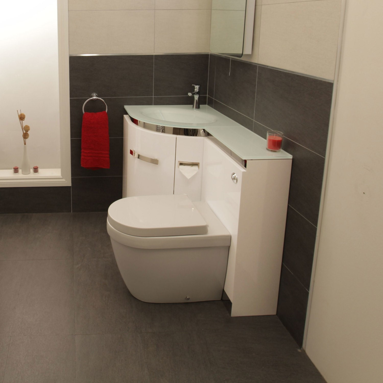 Left Hand Corner Combination Unit With Aurora Toilet White Basin Vigo Better Bathrooms