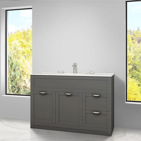 Nottingham Grey 1000 Vanity Unit & Basin Modern handle