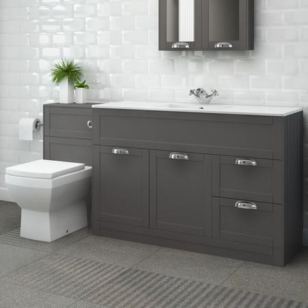 1000mm Floor Standing Combination Unit with Tabor Toilet - Grey Bathroom Storage Unit Traditional Handle - Nottingham Range