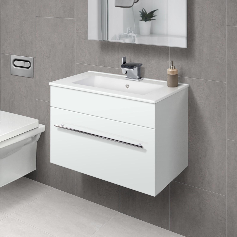 White Drawer Aspen 600mm Wall Hung Vanity Basin Unit