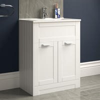 600mm Traditional Floorstanding Vanity Unit with Basin White - Nottingham