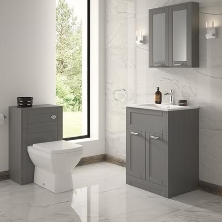 Nottingham 600 Grey Combination Unit with Tabor Back to Wall Toilet - Modern handle