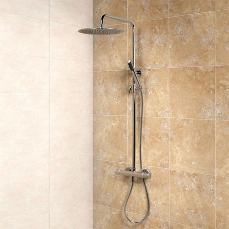 Deluxe Round Ultra Thin 300 Riser Slide Shower Rail Kit with Valve