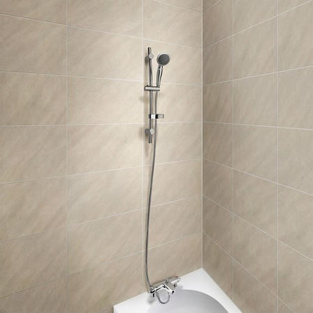 Laos Wall Mounted Thermostatic Bath Shower Mixer with Primo Slide Shower Rail Kit
