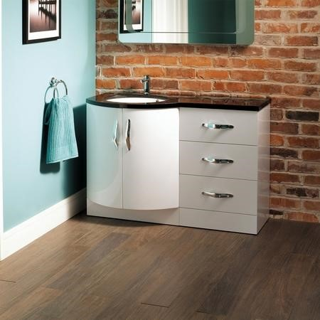 Bow Front Basin Vanity Unit - Double Door & Drawers Black Worktop - Kirkwood Range