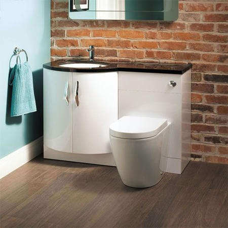 Bow Front Toilet & Basin Combination Unit with Venus Toilet - Black & White - Kirkwood  Range