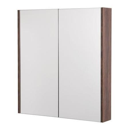 600mm Wall Hung Mirrored Cabinet - Double Door Walnut Storage - Aspen Range