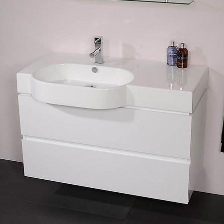1000mm Wall Hung Basin Vanity Unit White Double Drawer Madrid Range