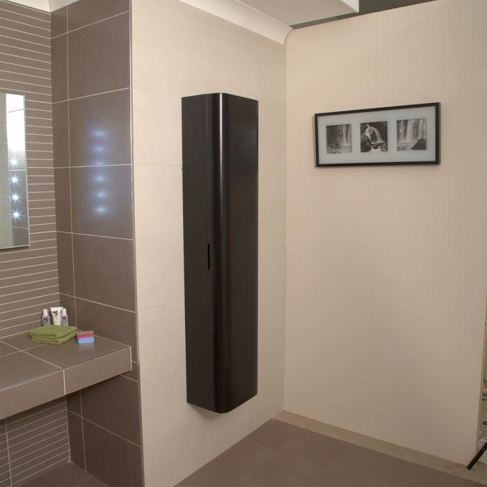 . Eclipse Wall Hung Storage Unit   Black Single Door Bathroom Storage