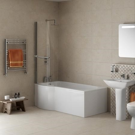 Left Hand P Shaped Bath with Curved Bath Screen - L1675 x W850mm