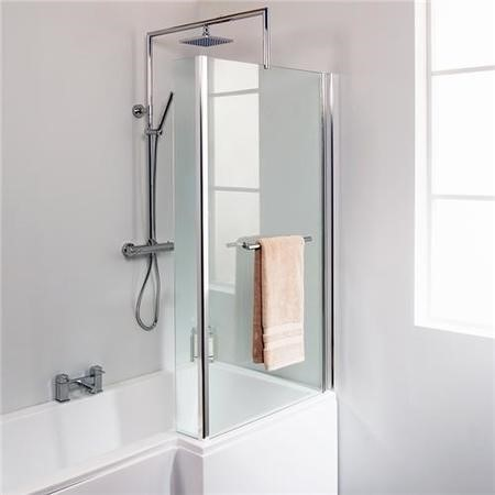 L-Shaped Fixed Bath Shower Screen H1435 x W796mm with Towel Rail