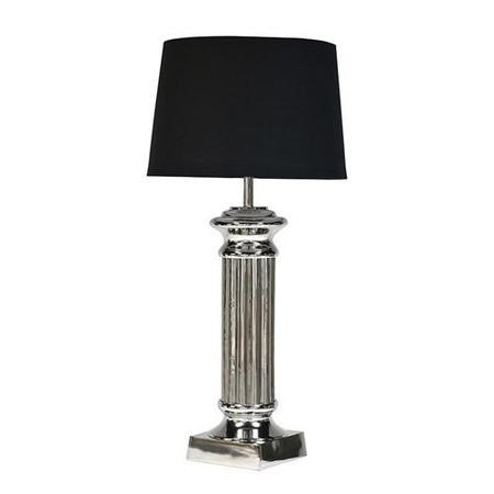Nickel Pillar Lamp With Black Shade