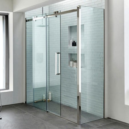 1600 Trinity Premium 10mm Right Hand Shower Enclosure with 800 Side Panel