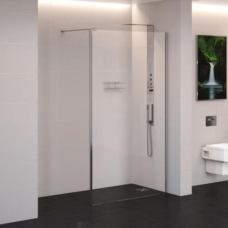 1200 x 2000 Wet Room Screen - 10mm Easy Clean Glass - Trinity Range
