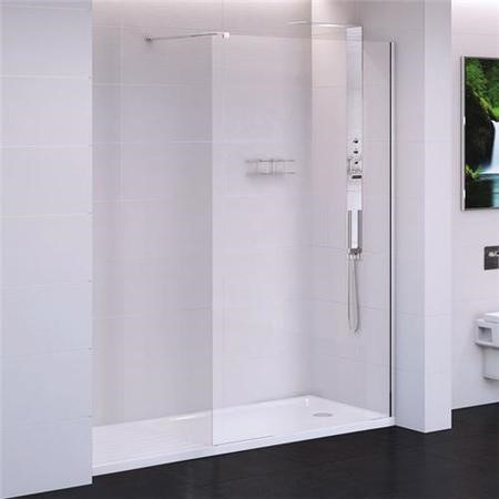 1200 x 2000 Walk In Shower Panel - 10mm Easy Clean Glass - Trinity Range